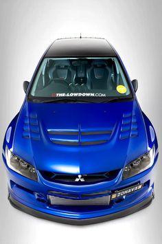 Mitsubishi Evo 9 aggressive angle.