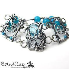 ANTILAE - Autorska bransoletka - srebro, kwarc, agat, turkus, wire wrapping