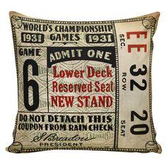 Baseball Pillow Cover 100/% cotton front cotton or burlap back Vintage Sports Theme Man Cave  Boys Room Decor Stub24 #S20045