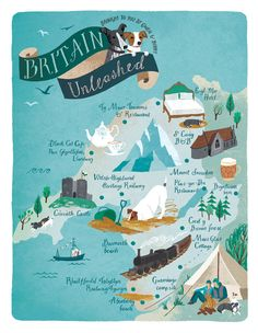 Illustrated Snowdonia map for Pets at Home Magazine by Sara Mulvanny  www.saramulvanny.com
