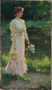 Charles Courtney Curran (1861-1942), By the Lily Pond, 1908, Oil on canvas, 17 x 10 inches, Bequest of Richard M. Scaife, 2015.51