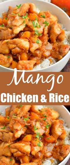 Mango Chicken and Rice is an amazing Asian inspired dinner made with tender chicken thigh meat and an easy to make flavorful mango sauce. The most present flavors include the fresh mango itself, along with soy sauce, lime juice, ginger, honey, and a touch of spice from red pepper flakes. Yummy Chicken Recipes, Easy Delicious Recipes, Yum Yum Chicken, Easy Dinner Recipes, Mango Chicken, Honey Garlic Chicken, Mango Sauce, Asian Recipes, Ethnic Recipes