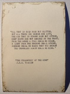 THE J.R.R. TOLKIEN Typewriter quote on 5x7 by WritersWire on Etsy @Esther Hethcox