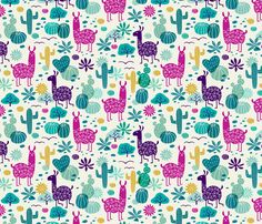 More about this preview.  zoom|embed      © Heleen van den Thillart - You are permitted to sell items you make with this fabric, but request you credit Heleen van den Thillart as the designer. Please feel free to send me pictures of finished projects on Spoonflower or instagram (@heleen_vd_thillart). Thank you!  llamas in the desert  byheleen_vd_thillart