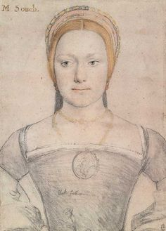 M. Zouch  --  Circa 1538  --  Hans Holbein the Younger  --  German  --  Colored chalks  black ink on pink prepared paper  --  Belonging to the Royal Collection of Her Majesty Queen Elizabeth II