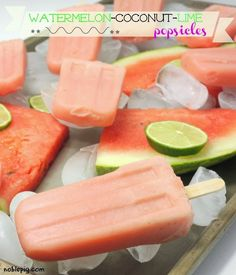 2 cups cubed watermelon, 1/2 cup coconut water, juice of 1 lime, 1 tsp honey, seal salt and mint leaves. Blend all except mint. Place in molds along with a few leaves in each mold. Freeze at least 3 hours