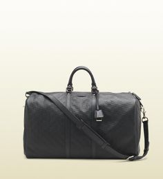 Gucci  Large black guccissima leather carry-on duffel bag