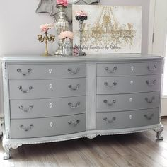This is sold but details some of the work I can do for youre custom request. This detailed, mahogany, French style dresser has 8 dovetail drawers, done in gray, whites and silver. Would make a beautiful TV stand or dresser. ***Message for shipping rate*** Girls Furniture, Dresser Furniture, Refurbished Furniture, Paint Furniture, White Furniture, Repurposed Furniture, Furniture Projects, Dresser Table, Dresser Ideas