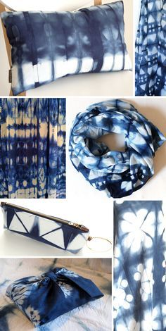 post by Victoria Snape, images via: (Top row right and row right) Pom by Pomegranate, (Top row left, row right and left ) Sea and stone studio, (Bottom row left) Oriba Shibori- S. Shibori Techniques, Tie Dye Techniques, How To Tie Dye, How To Dye Fabric, Textile Dyeing, Shibori Tie Dye, Japanese Textiles, Fabric Manipulation, Tye Dye