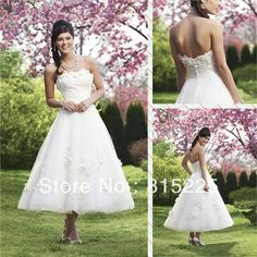 Elegant Charming Low Price A-Line Tea Length Mid Calf Wedding Dress Bridal Gown Sweetheart Applique Zipper Back White Tulle Hot on AliExpress.com. 10% off $106.20