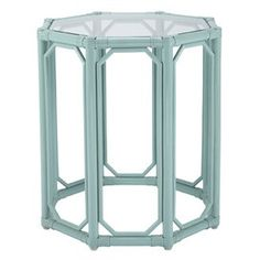 Side Table in Robin's Egg Blue. Love painted wicker topped with glass. Very fun.  www.facebook.com/LFFdesigns