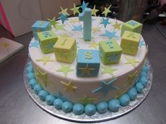 Wicked Chocolate cake iced in white butter icing decorated with fondant building blocks, 3D soft blue #1, fondant stars & wired stars | Flickr - Photo Sharing!