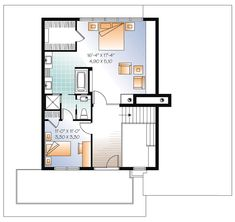 Second Floor Plan of Contemporary   House Plan 76120