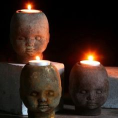 Doll head candle holders