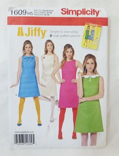 Simplicity Jiffy 1960's Vintage Dress sewing pattern 1609 size H5 6-14 #Simplicity