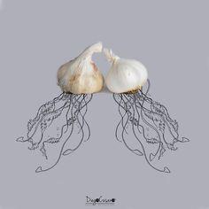 Meduse agliose!  #aglio #garlic #medusa #jellyfish #foodart #foodartist