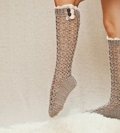 Instant download - Crochet PATTERN for socks (pdf file) - Lux Buttoned Socks $4.99 for pattern.  This gal offers 3 patterns for $12.00.....she has gorgeous patterns