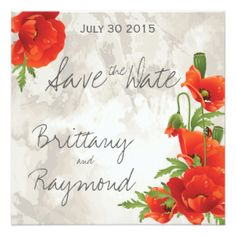 "VINTAGE RED POPPIES SAVE THE DATE INVITATION-**EXPLORE an Amazing Collection of  ""Theme Matching Wedding Invitation Sets"" by Visiting... http://www.zazzle.com/weddinginvitationkit"