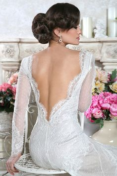 roberto motti 2014 italian long sleeve wedding dresses domenica open back