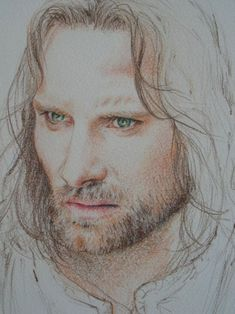 Lord of the Rings, Aragorn colored pencil drawing, AWESOME! Aragorn, Legolas, Tolkien Books, Jrr Tolkien, Portrait Au Crayon, O Hobbit, Viggo Mortensen, Illustration, Film Serie