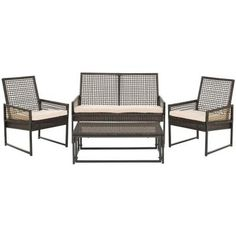 Safavieh Shawmont Brown 4-Piece Patio Seating Set with Beige Cushions-FOX6010B - The Home Depot