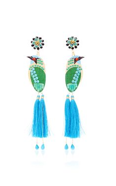 Mercedes Salazar Bird Blue Drop Tassel Earrings,$240