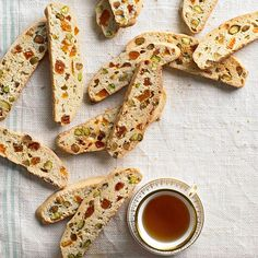 With salty-sweet pistachios and golden raisins, this crunchy biscotti is coffee's new best friend! More recipes from the magazine: http://www.bhg.com/recipes/from-better-homes-and-gardens/december-2012-recipes/