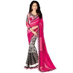 Stylish Pink & Grey Printed Saree on SmartDeals4u.com