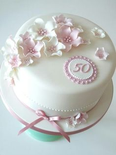 Round Pink And White 50 Birthday Cake
