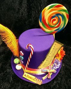 Willy Wonka Purple Top Hat Wonka's Golden Ticket by Crazy Hat Day, Crazy Hats, Willy Wonka, Toblerone, Satin Violet, Wonka Chocolate Factory, Giant Lollipops, Yellow Daisy Flower, Candy Land Theme