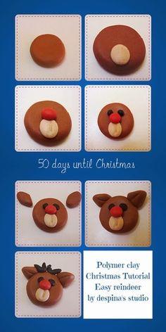 Polymer clay Christmas tutorial : Easy reindeer