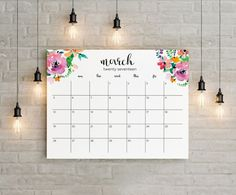 ** INSTANT DOWNLOAD (Print yourself / digital item) No physical item will be shipped. **  2017 Modern Floral Watercolor Printable Calendar. (sunday start-Letter size & Big A1 Size (fit to paper option A2, A3, A4)  What do I have when I purchase this listing? ♥ One Horizontal Letter Size (11 x 8.5 in) High Quality PDF file in CMYK color range. ♥ One Horizontal A1 Size (33.1 x 23.4 in) High Quality PDF file in CMYK color range. (you can print this big size as A2, A3, A4 size by choosin...