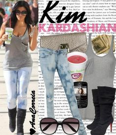 Cute casual look Kim Kardashian Style
