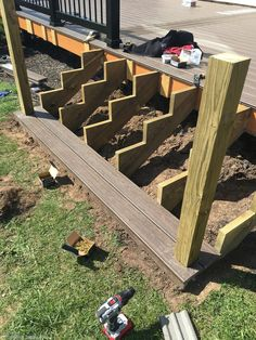 Lowe's Composite Deck by Tropics is a beautiful low-maintenance product that is easy to install. See our beautiful new tropics deck and instructions how to install yours! Stairs Repair, Deck Repair, Backyard Pergola, Patio, Deck Stair Railing, Deck Maintenance, Outdoor Stairs, Composite Decking, Building A Deck