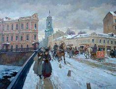 Первунинский Владимир (Москва, Россия)  Зимой на Пятницкой. Старая Москва.