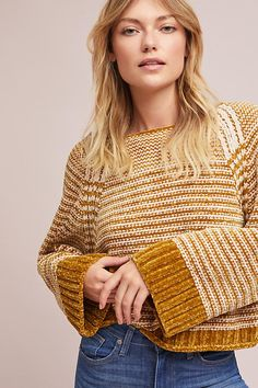 Serena Oversized Chenille Striped Sweater.