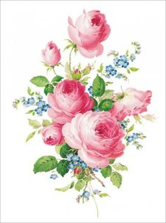 Letter paper small rose - Meissner flower painting - description of flower rose Flower Poetry, Flower Art, Vintage Rosen, Vintage Art, Botanical Flowers, Botanical Prints, Etiquette Vintage, Rosa Rose, Rose Pictures