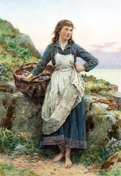 Henry James Johnstone (British, 1835-1907) - Fisher girl with mussels.
