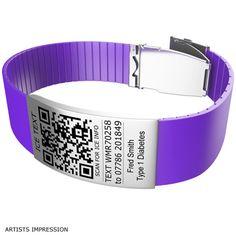 Purple+Bracelet+with+QR+Code+and+Text+Bundle