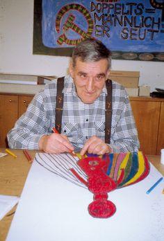 Johann Hauser at work, Visionary Art, Crochet Necklace, Studio, Illustration, Artist, Painting, Artists, Painting Art, Studios