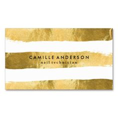 Gold And White Nail Technician Business Cards