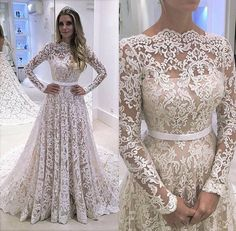 Long Sleeve Prom Dress,Lace Prom Dress,Fashion Bridal Dress,Sexy Party Dress,Custom Made Evening Dress