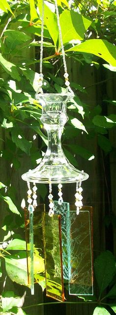 Vintage Candlestick Upcycled into a Windchime Pale by hunter5220