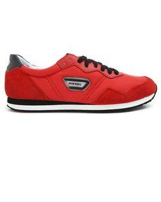 DIESEL, Kursal Red Nylon Sneakers