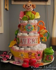 Just the Diaper Cake idea ... not this design, but of course LOVE the name!!