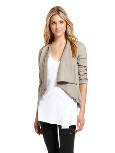Cool casual elegant style with this Drape Neck Asymmetrical Jacket from DKNY on South Granville in Vancouver.