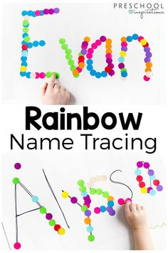 This rainbow name tracing activity is a fun way to teach names while developing fine motor skills. This rainbow name tracing activity is a fun way to teach names while developing fine motor skills. Name Activities Preschool, Rainbow Fish Activities, Preschool Writing, Alphabet Activities, Toddler Activities, Preschool Activities, Preschool Color Theme, Name Writing Activities, Preschool Journals