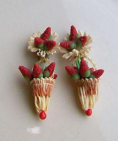Vintage FIGURAL BASKET STRAWBERRY Earrings signed WEST GERMANY