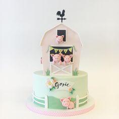 "Betsy Thorleifson on Instagram: ""WHY ARE PIGS SO CUTE?!??? #happyasapiginmud #whenpigsfly #piggies photo: @rosemcadoo event planner: @simply_perfect_events"" Barnyard Cake, Pig In Mud, Fondant Baby, 4 Kids, Celebration Cakes, Party Cakes, Milkshake, Cake Decorating, Birthday Cake"