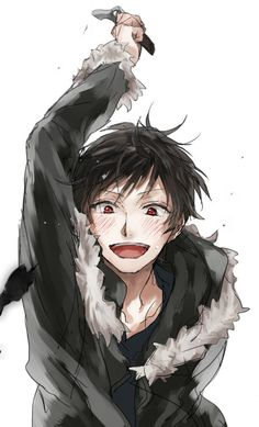 """ Shizu - chan !!! ""  sry just had to pin this, its adorable. This is Izaya from Durarara!!"